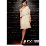 Wholesale - One Shoulder Slim Chiffon Falbala Soild Color Mini Party Dress