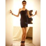 Wholesale - One Shoulder Slim Hollow Empire Soild Color Mini Party Dress