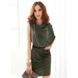 Wholesale - One Shoulder Slim Soild Color Mini Party Dress