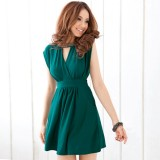 Wholesale - V-neck Empire Slim Dacron Soild Color Sleeveless Beading Mini Party Dress