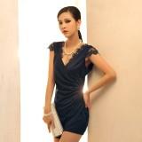 Wholesale - V-neck Empire Slim Soild Color Sleeveless Flora Mini Party Dress