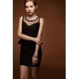 Wholesale - Round Neck Empire Cotton Slim Soild Color Sleeveless Falbala Mini Party Dress