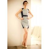 Wholesale - Round Neck Cotton Slim Sleeveless Mini Party Dress