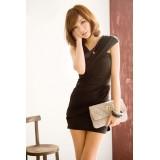 Wholesale - V-neck Empire Slim Soild Color Sleeveless Mini Party Dress
