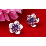 Wholesale - Zircons Plum Blossom Silver Plating Earring