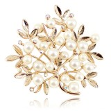 Wholesale - Crystal Pearl Leaves Style Brooch with SWAROVSKI Elements (9323)