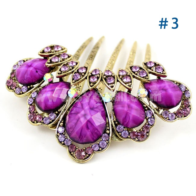 Crystal Big Gem/Peacock Feather Style Hairpin with SWAROVSKI Elements (9251)