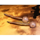 Wholesale - Crystal Pearl Thin Hairclip with SWAROVSKI Elements (A Pair)