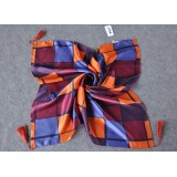 Wholesale - Girds Pattern Pure Mulberry Silk Printing Square Women's Kerchief Scarf