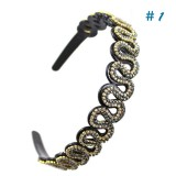 Wholesale - Manual Beaded Crenulated Hairband with SWAROVSKI Elements (9408)