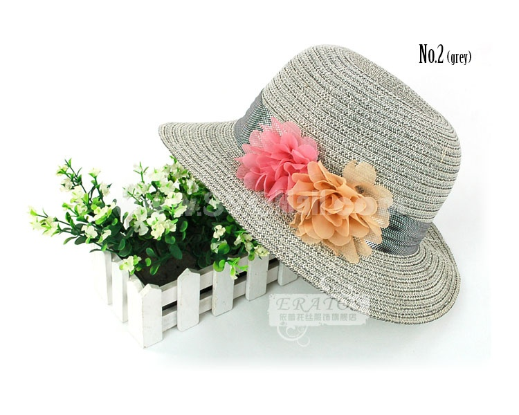 Eratos Narrow-Brimmed Double Flowers Style Strawhat (CM15)