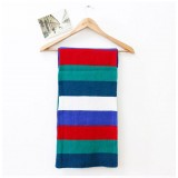 Wholesale - Rainbow Contrast Color Double Sides Knitted Scarf