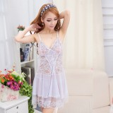 Wholesale - Sexy V-neck Transparent Lace & Tulle Lingerie Set with G-string
