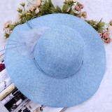Wholesale - Women's Beach Hat Broad-Brimmed Pure Color with Blossom