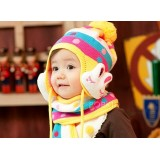 Wholesale - Lovely Rabbit Style Baby Hat+Scarf Wool