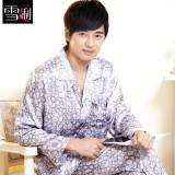 Wholesale - SHIRLEY Artifical Silk Lapel Long Sleeve Casual Pajamas