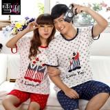 Wholesale - SHIRLEY Pure Cotton Printing Round Neck Short Sleeve Casual Pajamas