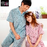 Wholesale - SHIRLEY Pure Cotton Printing Lapel Short Sleeve Casual Pajamas