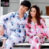 Wholesale - SHIRLEY Pure Cotton Printing Lapel Long Sleeve Casual Pajamas
