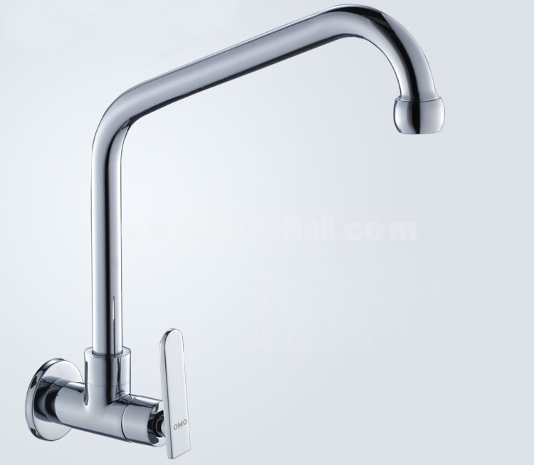 OMO All Brass Single Handle Wall Type Rotatable Pull Out Kitchen Sink Faucet Cold Water B-95001CP