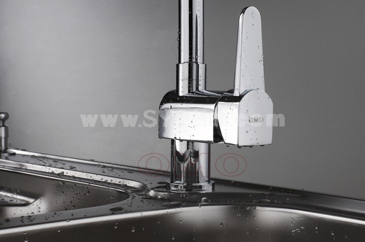 OMO All Brass Single Handle Rotatable Pull Out Kitchen Sink Faucet Cold and Hot Water B-90001CP