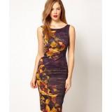 Wholesale - Karen Millen Karen Sleeveless Millen Feminine Print Dress Purple DP180