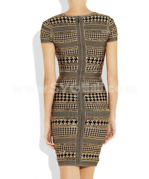 HERVE LEGER Round Neck Gallus Slim Party Dress Khaki HL048