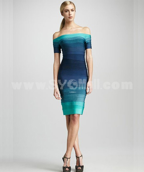 HERVE LEGER Off Shoulder Gradual Color Party Dress