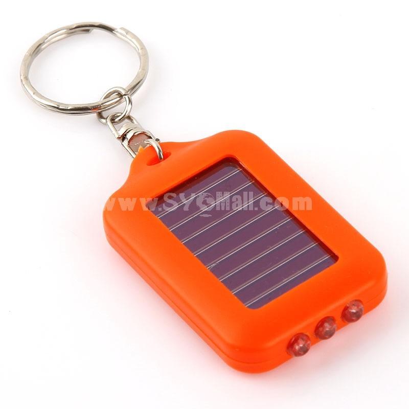 Mini Flashlight Rectangle Solar 3×LED Keychain (E7648)