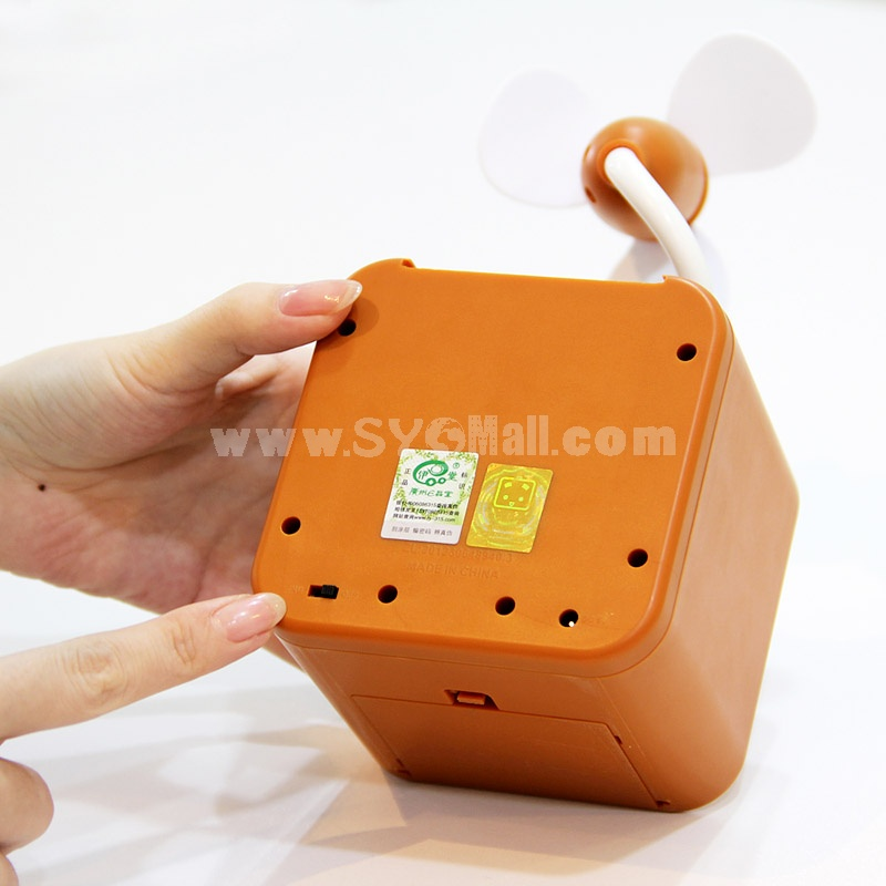 Mini Fan Cartoon Box Style USB Battery Powered Portable (K1109)