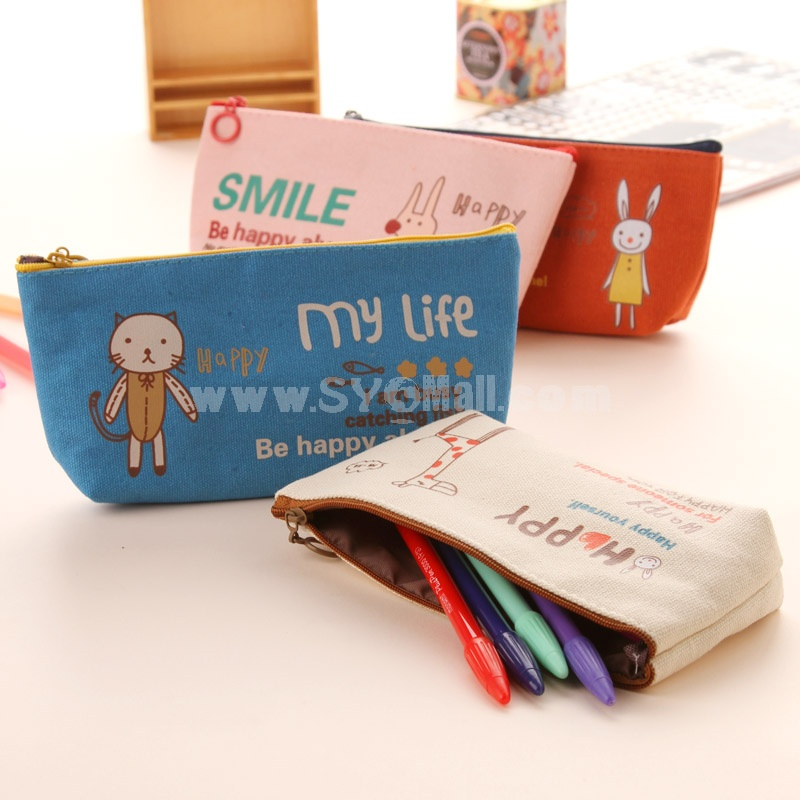 Pencil Bag Animal Pattern Four Colors/Patterns to Choose Canvas Lovely (W2111)