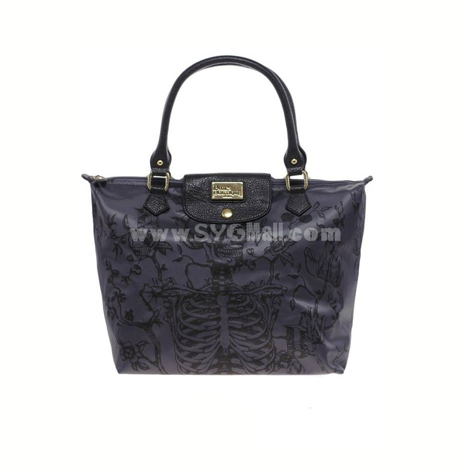 London Vintage Style Skull Pattern Shouder Bag Black