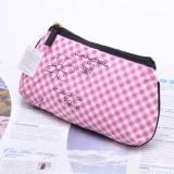 Wholesale - Lovely Cotton Cute Lattice Pattern Cosmetic Bag Pink