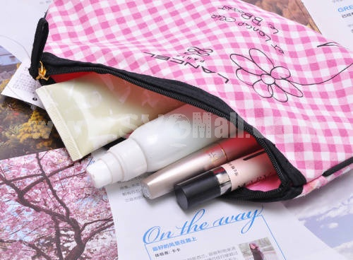 Lovely Cotton Cute Lattice Pattern Cosmetic Bag Pink