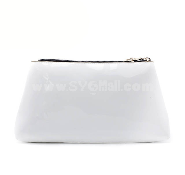 Glossy Patent Leather Cosmetic Bag Black/White