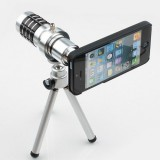 wholesale - 12X Magnifier Zoom Aluminum Camera Telephoto Lens with Tripod for Apple iPhone 5