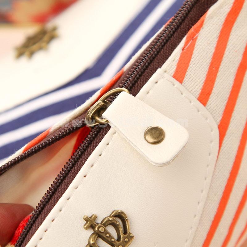 Pencil Bag Stationery Bag Crown Logo & Stripes Style Canvas (W2150)