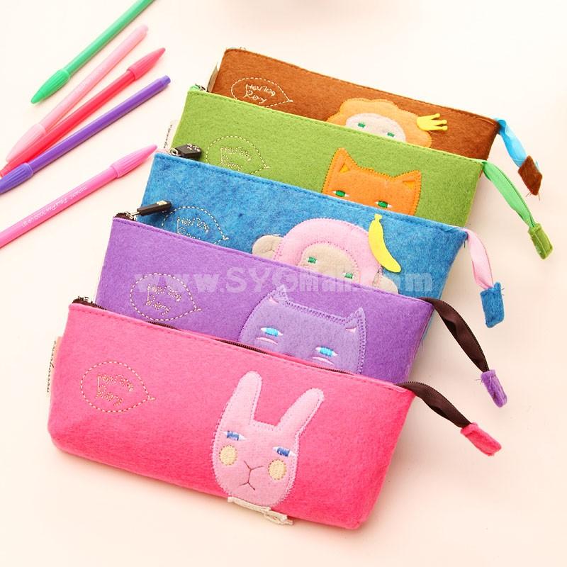 Pencil Bag Stationery Bag Cartoon Animal Design Felt (W2149)