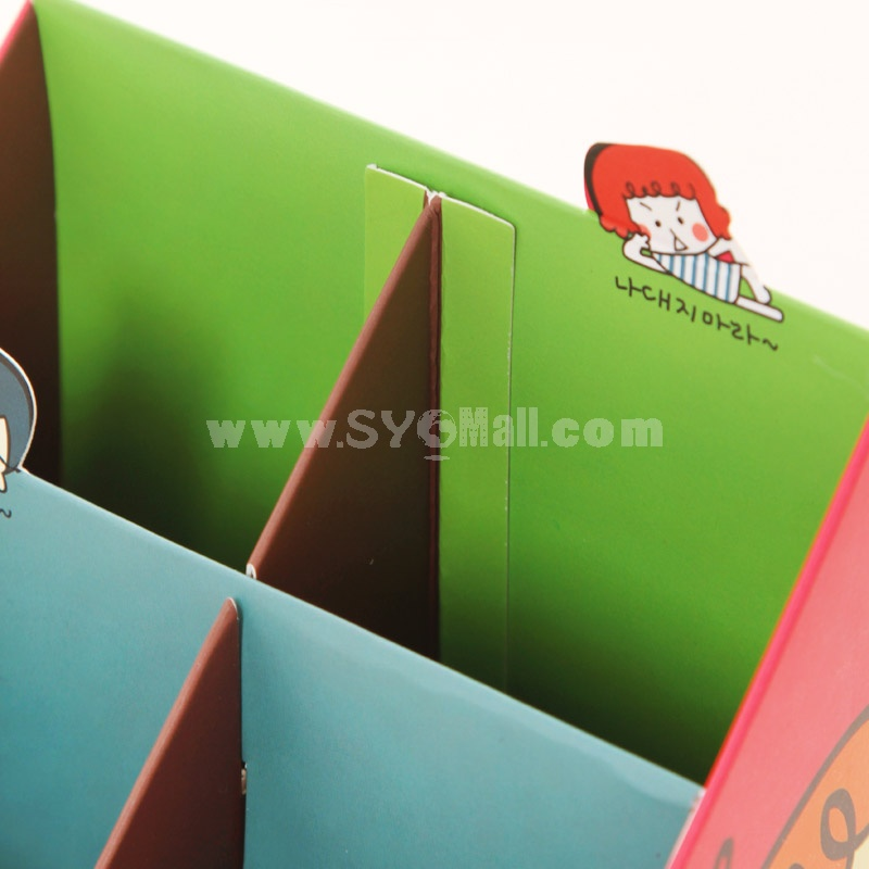 Desktop Storage Box Cartoon Girl & Bear Style Pen DIY (W2117)