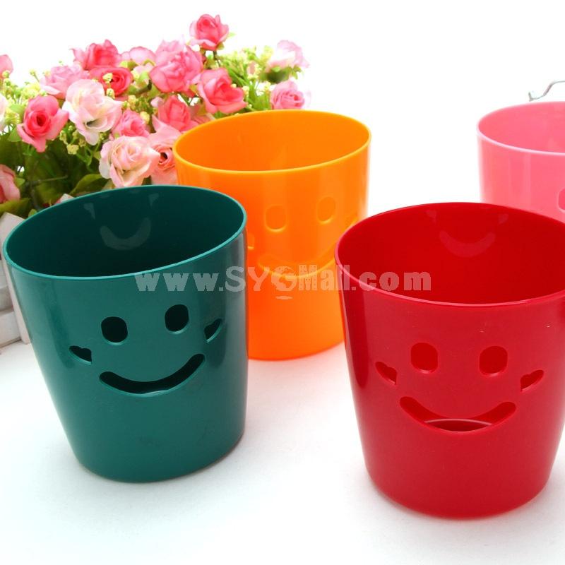 Desktop Storage Bucket Smile Face Design Pure Color (E9071)