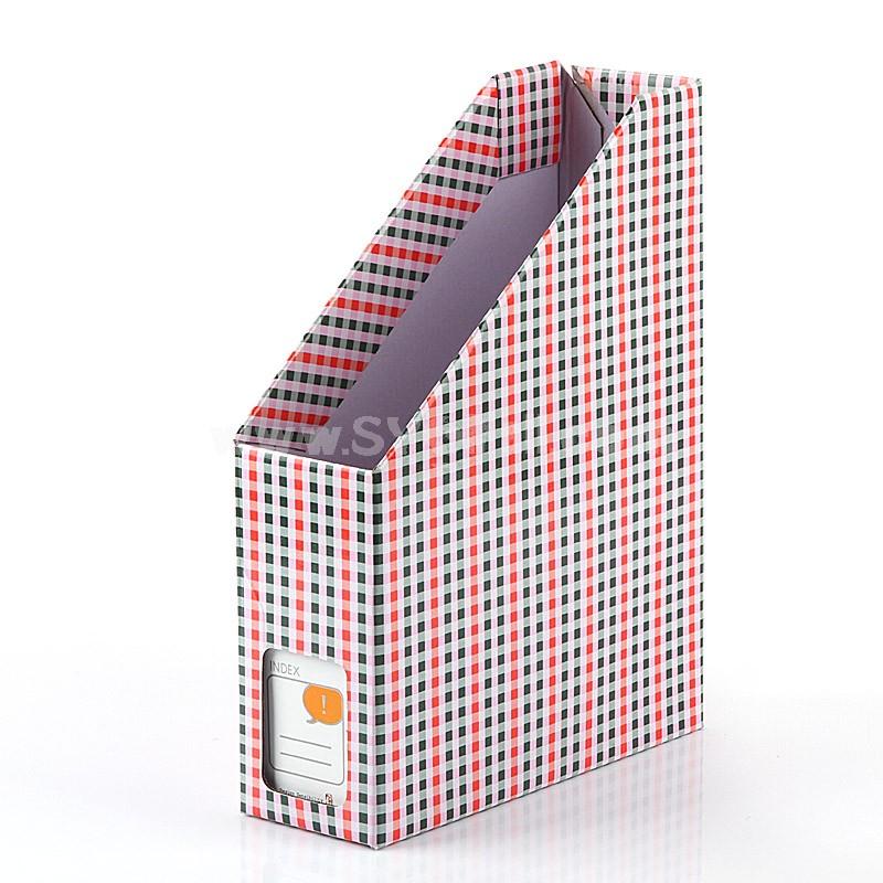 Desktop File Storage Box Pink&Blue Plaid Design DIY (E7052)