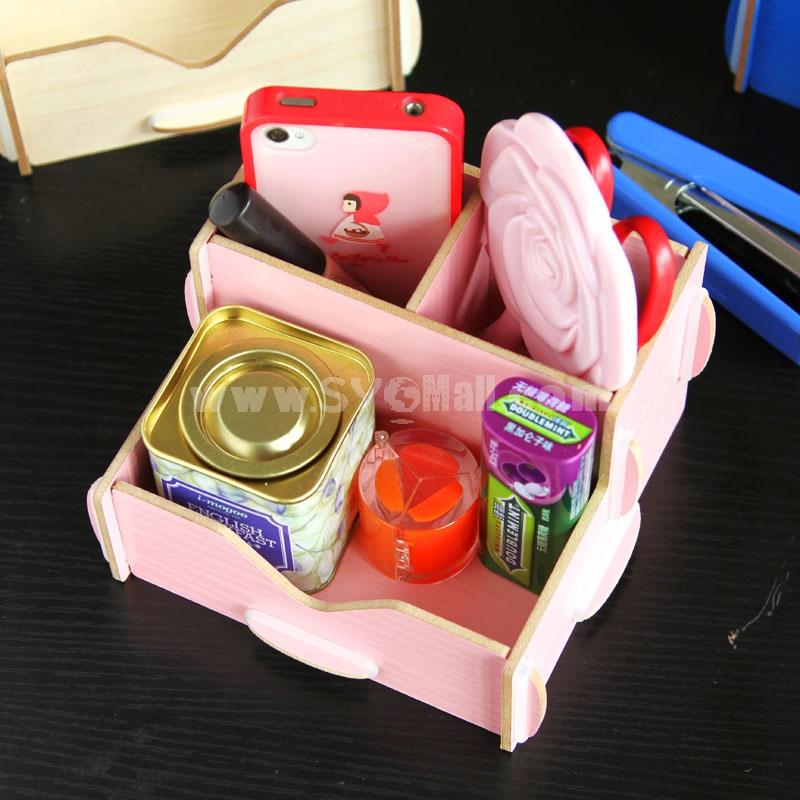 Desktop Storage Box Wooden Pure Color DIY (SN2021)