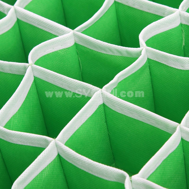 Storage Box for Socks Non-Woven Fabric 30 Cells Green (K0760)