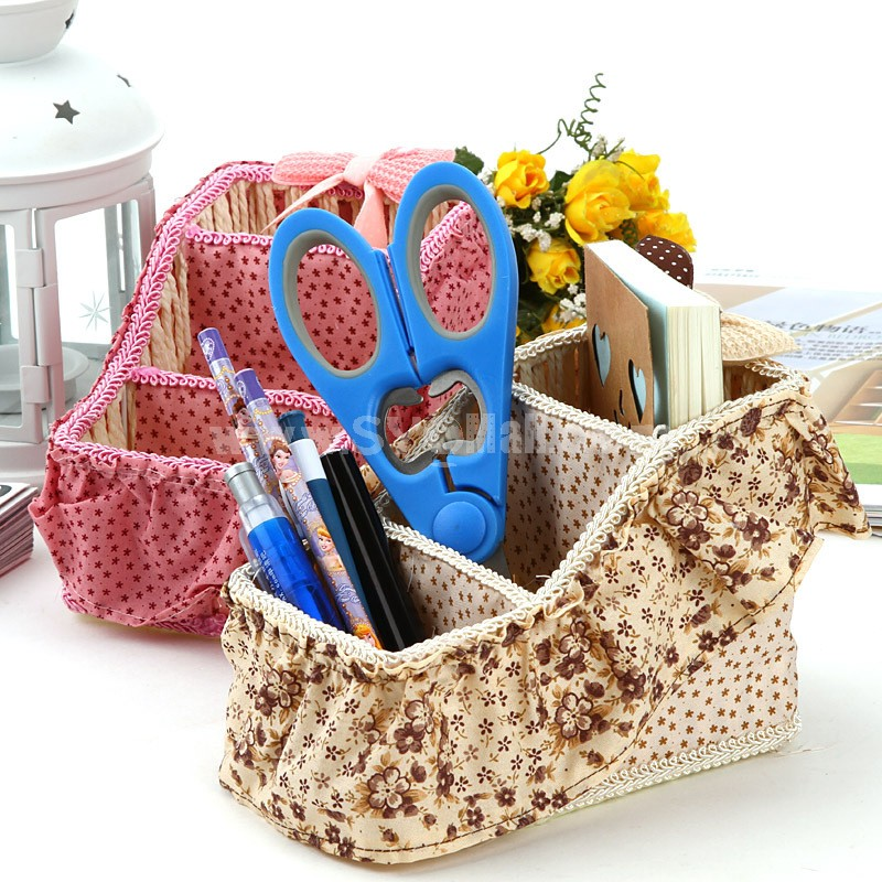 Knitted Basket Storage Box Bow-Tie Design Cloth (E9257)