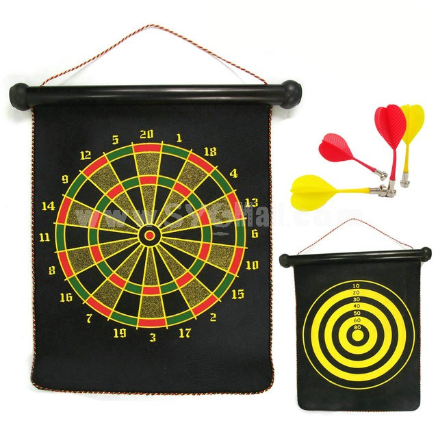 Magnetic Dart Board Set Hanging Wall Double Sides 12in