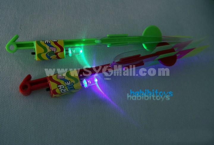 Elastic Band Powered Flash Light Arrow Helicopter 5pcs