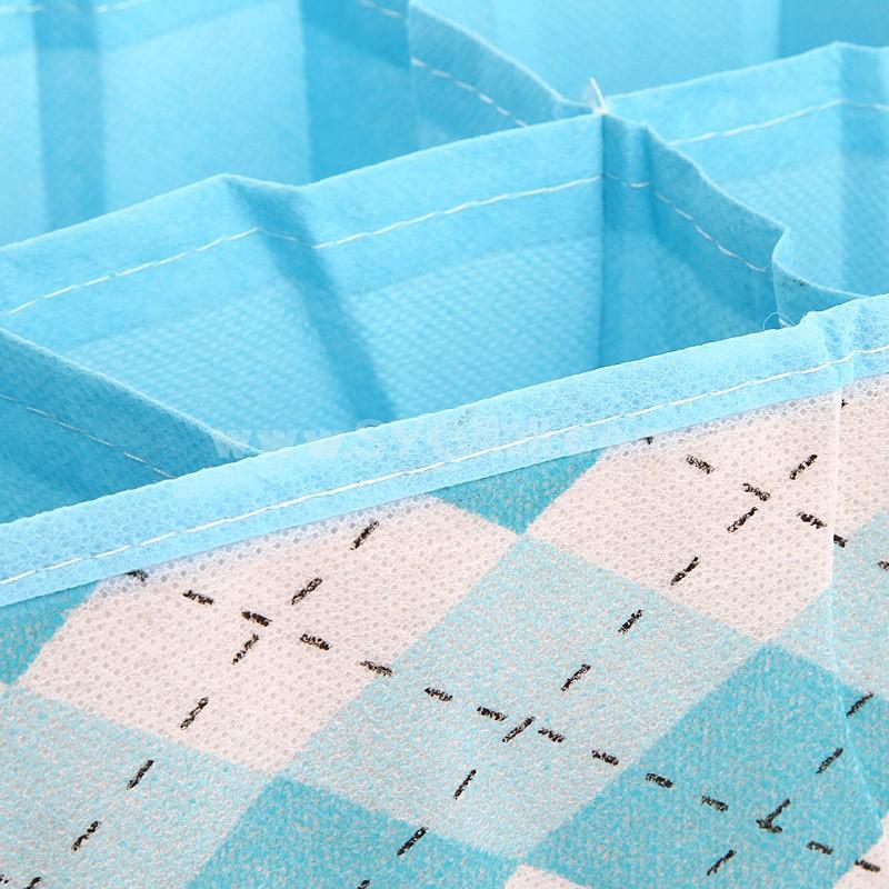 Storage Box for Underwear Socks Plaid Style Non-Woven Fabric 16 Cells (WYFX005)