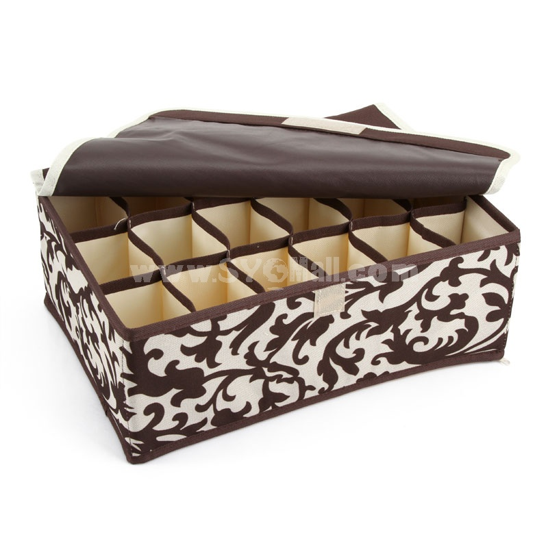 Storage Box for Underwears / Socks 18 Cells Covered Oxford Foldable (SN1434)