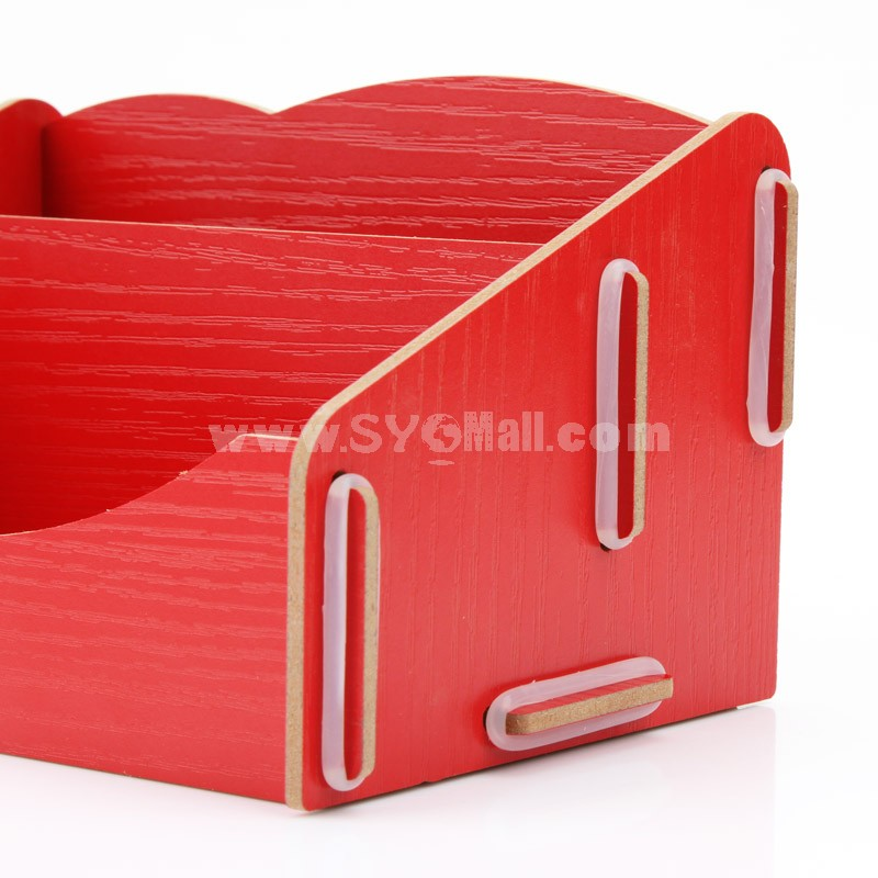 Desktop Storage Box Wooden Pure Color DIY (K0996)