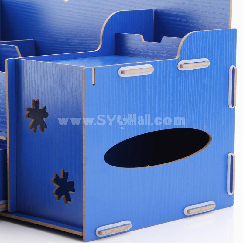 Desktop Storage Box Shy Face Design Hollow Wooden Pure Color DIY (SN2022)